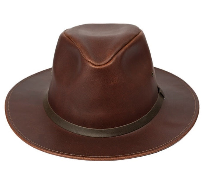 Leather SAFARI HAT ~ Cowboy Western Bush Style in BROWN & BLACK