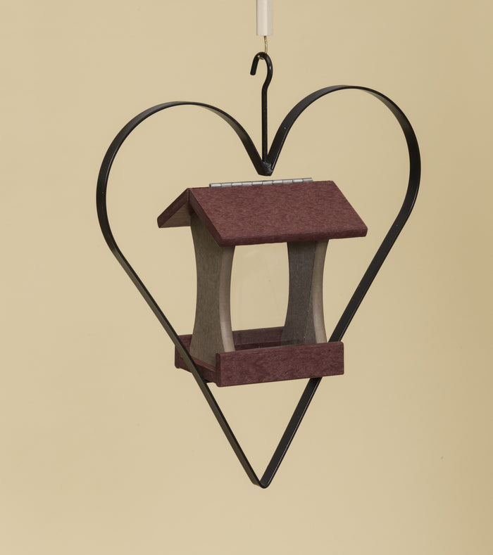 BIRD FEEDER in WROUGHT IRON HEART HANGER ~ Amish Handmade in 12 Color Choices