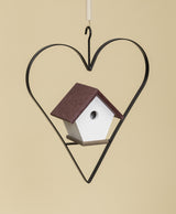 WREN BIRD HOUSE in IRON HEART HANGER ~ Amish Handmade in 12 Color Choices