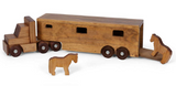 HORSE CARRIER Large & Solid Handmade Wood Equestrian Truck with 2 Horses