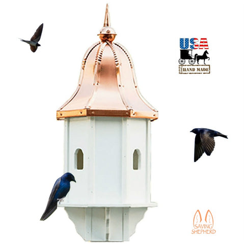 "29"" COPPER BELL TOP BIRDHOUSE - 4 Room Vinyl Martin Bird House USA"