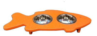 CAT FEEDER - Fish or Mouse Shaped Elevated Poly Feeding Station in 14 Colors