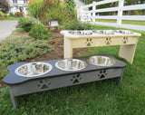 TRIPLE DISH ELEVATED POLY DOG FEEDER ~ Choice of Height & 342 Color Combinations ~ Amish Handmade in USA