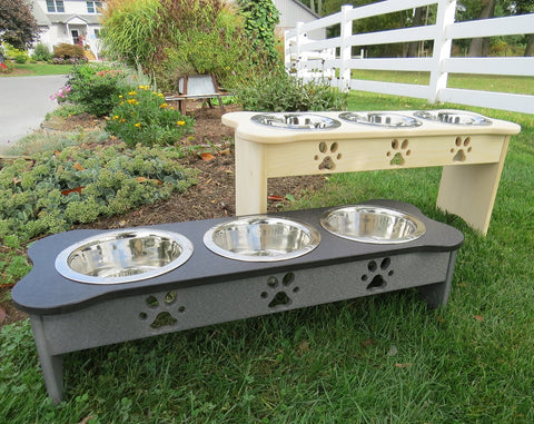 ELEVATED TRIPLE DISH DOG FEEDER ~ Bone or Traditional Shape ~ Choice of Height