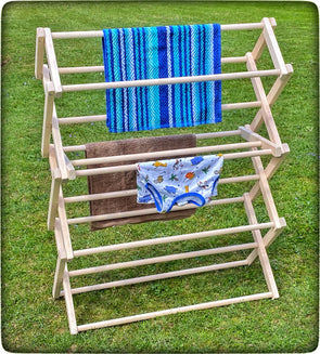 FOLDING DRYING RACK - Amish Handmade 30W x 37½H x 12½D Maple Wood Clothes Laundry Hanger