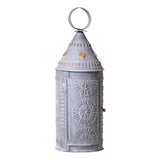 "21"" Punched Tin Lantern - Colonial Light in Weathered Zinc Finish"