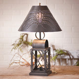 KEEPING ROOM LAMP - Punched Willow Tin Shade with 3-Way Switch