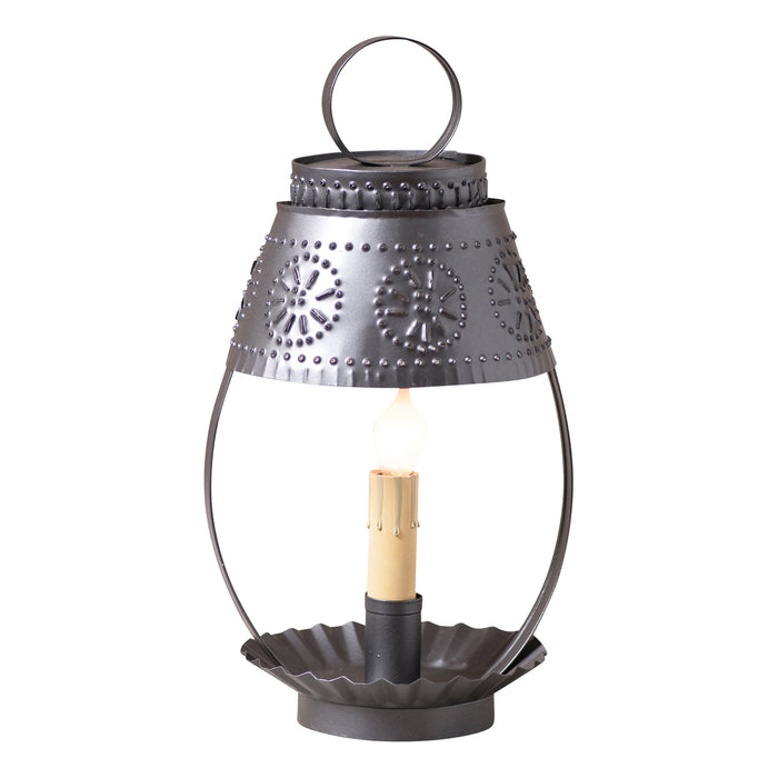 STUDENT LIGHT with PUNCHED TIN SHADE - Cozy Smokey Black Desk Lamp