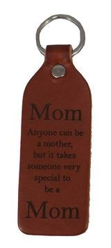 MOM LEATHER KEYCHAIN - Amish Handmade Sentimental Key Ring USA