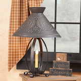 BETSY ROSS COLONIAL TABLE LAMP - Pierced Chisel Pattern Shade in Kettle Black
