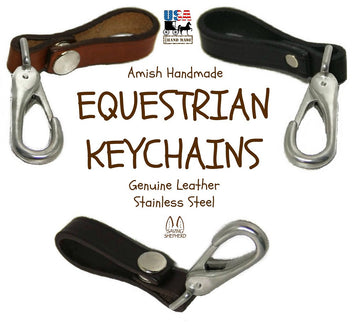 EQUESTRIAN LEATHER KEY CHAIN - Heavy & Durable with Stainless Steel Halter Clip USA HANDMADE