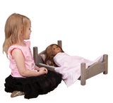 DOLL BED with BEDDING in 4 Finishes - Amish Handmade Fine Wood Furniture for Dolls