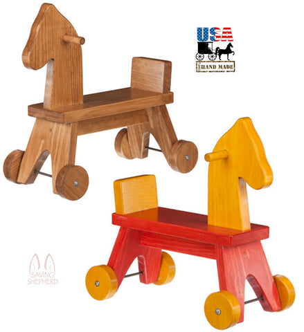 TODDLER RIDE ON HORSE - Amish Handcrafted Wood Walker Toy in 2 Finishes - Made in USA