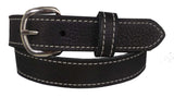 BLACK LADIES BULLHIDE LEATHER STITCHED BELT - Choice of Stitching - Handmade in USA
