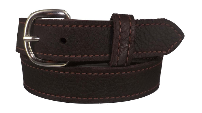 BROWN LADIES BULLHIDE LEATHER STITCHED BELT - Choice of Stitching - Handmade in USA