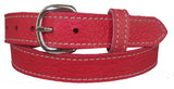 LADIES PINK BULLHIDE LEATHER STITCHED BELT - Choice of Stitching - Handmade in USA
