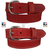 LADIES RED BULLHIDE LEATHER STITCHED BELT - Choice of Stitching - Handmade in USA
