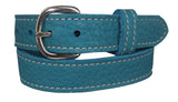 LADIES TURQUOISE BULLHIDE LEATHER STITCHED BELT - Choice of Stitching - Handmade in USA