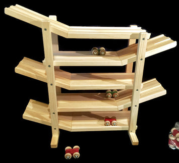 FLIP ROLLER CAR RACE TRACK ROLLER Handmade Pine Wood with 6 Colored Cars