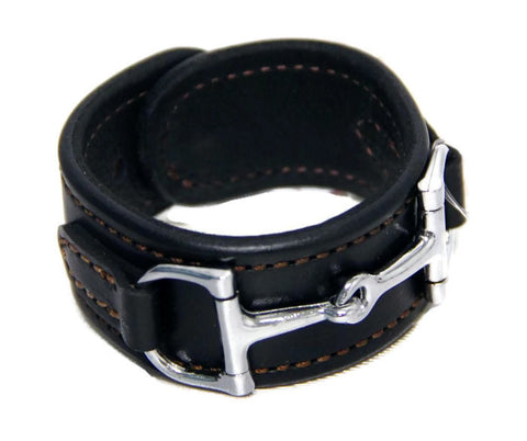 WIDE LEATHER HORSE BIT BRACELET with Nickel Equestrian Snaffle in 12 Colors