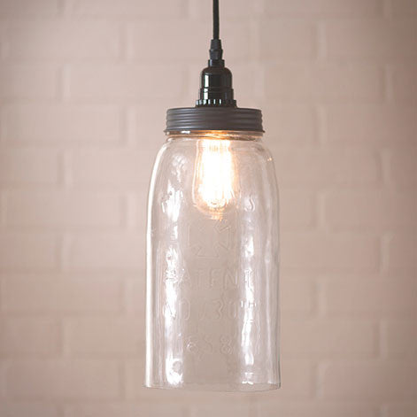 Classic Large Mason Jar Pendant Light - Solid Glass with 18 Foot Cord & Dimmer Switch
