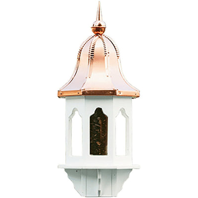 "29"" COPPER BELL TOP BIRD FEEDER - Weatherproof Vinyl Body & Post Bracket"