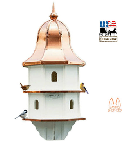 "36"" COPPER BELL TOP BIRDHOUSE - Extra Large 6 Room Vinyl Martin Bird House USA"