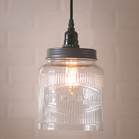 Large Ribbed Mason Jar Pendant Light - Solid Glass with 18 Foot Cord & Dimmer Switch