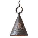 """MADISON"" PENDANT - Punched Tin Witch's Hat Down Light in 2 Finishes"