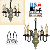 "4 ARM ""CHESAPEAKE"" WOOD CHANDELIER - USA Handmade Colonial Light in Custom Finishes"