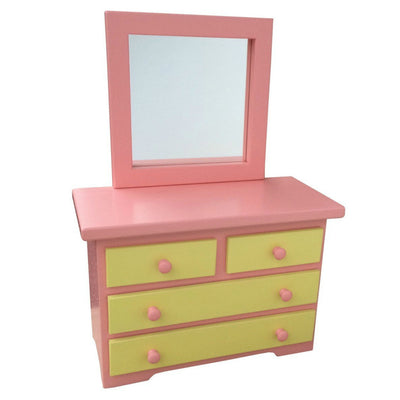 "WOOD DRESSER with MIRROR for 18"" DOLLS - Handmade Wooden Doll Fine Furniture USA"