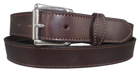 "MONEY BELT - DARK BROWN English Bridle Leather Concealed 16"" Zipper Pouch"