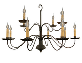 "2 TIER 12 ARM COLONIAL CHANDELIER - ""Monticello"" Handcrafted Metal Candelabra Light"