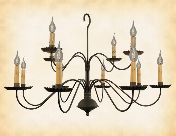 2 TIER 12 ARM COLONIAL CHANDELIER -