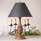 JAMESTOWN COLONIAL TABLE LAMP with Punched Tin Shade - 5 Heavily Distressed Crackle Finishes