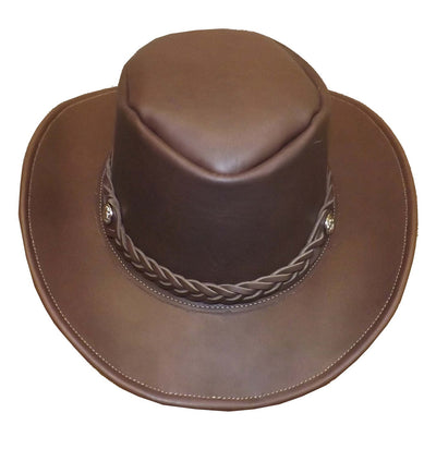 AUSSIE OUTBACK HAT ~ Leather Cowboy Bush Style in BROWN & BLACK