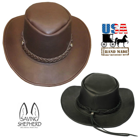 LEATHER OUTBACK HAT ~ Australian Cowboy Bush Style in BROWN & BLACK