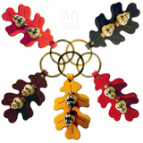 OAK LEAF DOOR CHIME - STITCHED LEATHER & SOLID BRASS ACORN BELLS in 5 Colors