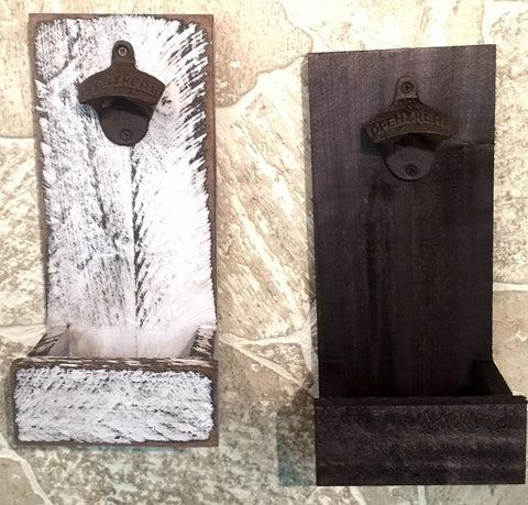 Handmade Beer Bottle Opener Iron Wood Wall Mount