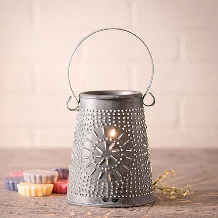 PUNCHED TIN WAX TART WARMER - Primitive Chisel Pattern in Weathered Zinc