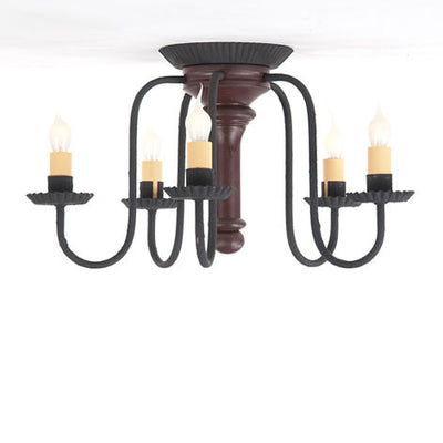 WROUGHT IRON & DISTRESSED WOOD CEILING LIGHT Handcrafted 5 Arm Candelabra in 4 Finishes