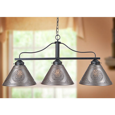 BAR ISLAND LIGHT Large Wrought Iron Fixture with Punched Tin Shades