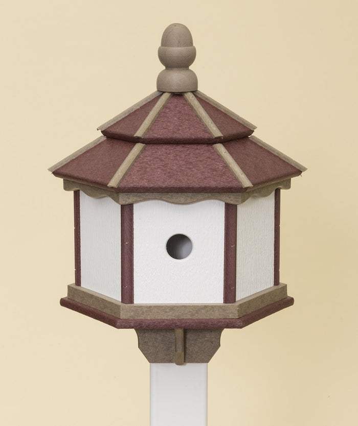 3 ROOM HEXAGON BIRDHOUSE - Large Amish Handmade Weatherproof Poly ~ Post Mount in 6 Colors