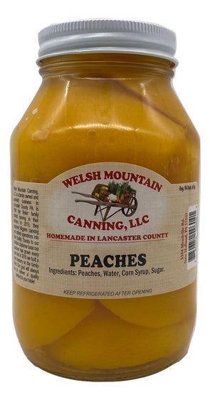 CANNED PEACHES - 16oz Pint & 32oz Quart Jars Homemade in Lancaster USA