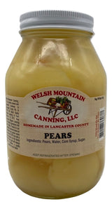 CANNED PEARS - 16oz Pint & 32oz Quart Jars Homemade in Lancaster USA
