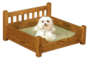 LUXURY WOOD PET BED - Solid Oak Dog or Cat Furniture - Amish Handmade in USA