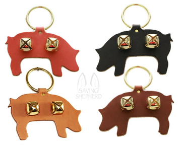 DOOR CHIME - LEATHER PIG with SLEIGH BELLS in 4 Colors - Amish Handmade in USA