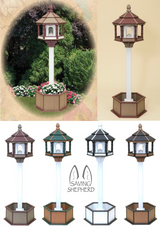 GARDEN PLANTER POST & LARGE BIRD FEEDER ~ Amish Handmade Poly in 6 Colors