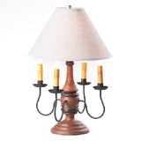 JAMESTOWN COLONIAL TABLE LAMP with Ivory Linen Shade - 5 Heavily Distressed Crackle Finishes