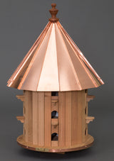 "35"" CEDAR PURPLE MARTIN BIRDHOUSE - 15 Room Copper Roof Bird House"